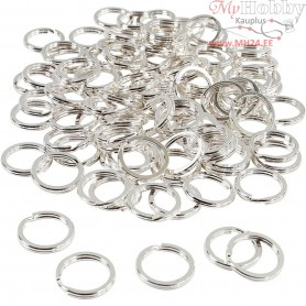 Split Ring, D: 15 mm, silver-plated, 100pcs