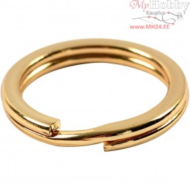 Split Ring, D: 15 mm, gold-plated, 15pcs