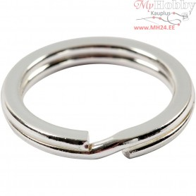 Split Ring, D: 15 mm, silver-plated, 15pcs