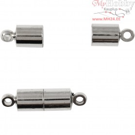 Magnetic Clasp, D: 5 mm, L: 17 mm, silver-plated, 2pcs