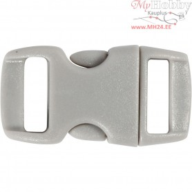 Click Clasp, W: 15 mm, L: 29 mm, grey, 4pcs, hole size 3x11 mm