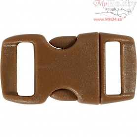 Click Clasp, W: 15 mm, L: 29 mm, brown, 4pcs, hole size 3x11 mm