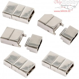 Click Clasp, size 25x16x6 mm, hole size 4x8 mm, silver-plated, 10pcs