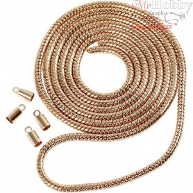 Snake Chain, D: 3,1 mm, rose gold, 1m