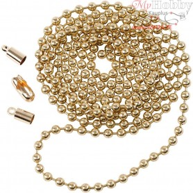Bead Chain, D: 3 mm, rose gold, 1m