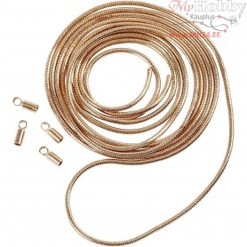 Snake Chain, D: 1,2 mm, rose gold, 1m