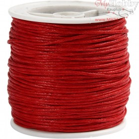 Cotton Cord, thickness 1 mm, red, 40m