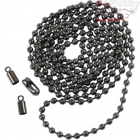 Bead Chain, D: 3 mm, dark grey metallic, 1m