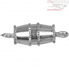 Barrel Clasps, L: 16 mm, silver-plated, 10pcs