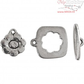 Charm Clasp, size 15-20 mm, hole size 2 mm, antique silver, 1set