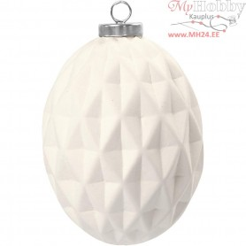 Terracotta Ornament, Oval, D: 7,8 cm, H: 11 cm, white, 6pcs
