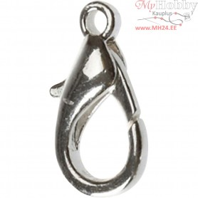 Lobster Claw Clasps, L: 18 mm, silver-plated, 4pcs