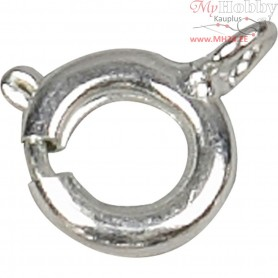 Spring Ring Clasps,  7 mm, silver-plated, 10pcs