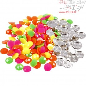 Cabochons, D: 14 mm, thickness 4 mm, neon colours, 350mixed