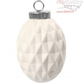 Terracotta Ornament, Oval, D: 5 cm, H: 7 cm, white, 6pcs