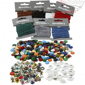 MacramƩ Bracelets with Cabochons,  40 pc, 1set