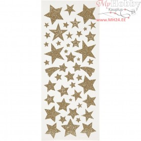 Glitter Stickers, sheet 10x24 cm, approx. 110 pc, gold, stars, 2sheets