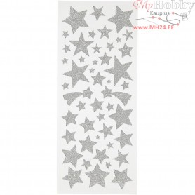 Glitter Stickers, sheet 10x24 cm, approx. 110 pc, silver, stars, 2sheets