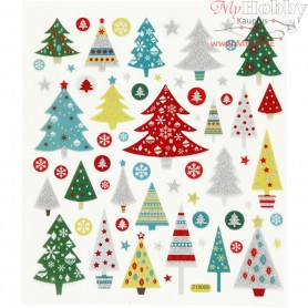Fancy Glitter Stickers, sheet 15x16,5 cm, approx. 63 pc, christmas tree, 1sheet
