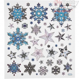 Fancy Stickers, sheet 15x16,5 cm, approx. 48 pc, Snow Crystals, 1sheet