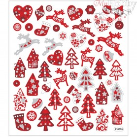 Fancy Glitter Stickers, sheet 15x16,5 cm, approx. 54 pc, red/white christmas, 1sheet