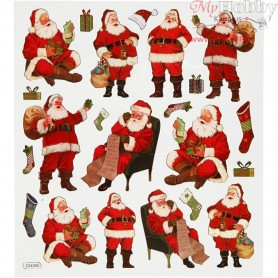 Fancy Stickers, sheet 15x16,5 cm, santa claus, 1sheet