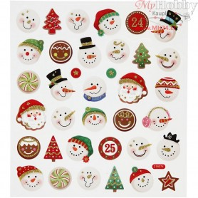 Fancy Stickers, sheet 15x16,5 cm, snowmen, 1sheet