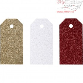Gift Tags, size 5x10 cm,  300 g, white, gold, red, 12pcs