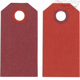Manilla Tags, claret/red, size 6x3 cm,  250 g, 20pcs