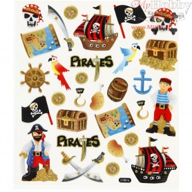 Fancy Glitter Stickers, sheet 15x16,5 cm, pirates, 1sheet