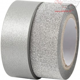 Design Tape, W: 15 mm, silver, 2rolls