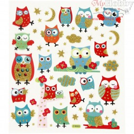 Fancy Glitter Stickers, sheet 15x16,5 cm, owls, 1sheet