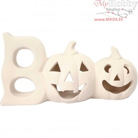 Tea Light Candle Holder, Pumpkin, H: 15,5 cm, L: 29 cm, white, 1pc