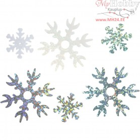 Sequins, D: 25+45 mm, light blue, white, silver, snowflake, 30g
