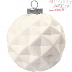 Terracotta Ornament, Round, D: 8 cm, H: 9 cm, white, 6pcs