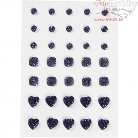 Rhinestones, size 6+8+10 mm, blue, round, square, heart, 35pcs