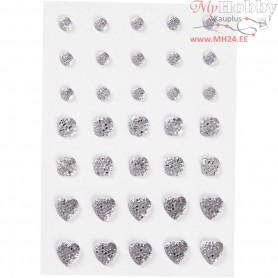 Rhinestones, size 6+8+10 mm, silver, round, square, heart, 35pcs