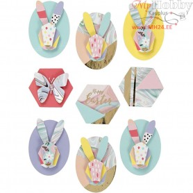 3D Stickers, H: 30-45 mm, W: 32-35 mm, rabbits, 9pcs, thickness 7 mm