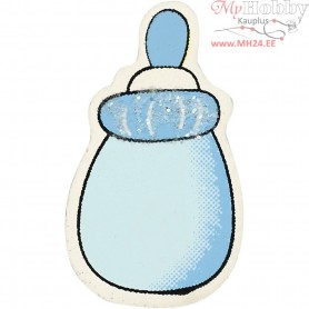 Milk Bottle, light blue, size 22x37 mm, thickness 1,7 mm, glitter, 10pcs