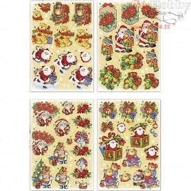 3D Decoupage Motifs, sheet 21x30 cm, Father Christmas and teddy bears, 4sheets
