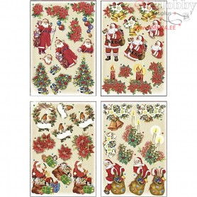 3D Decoupage Motifs, sheet 21x30 cm, Father Christmas and Poinsettias, 4sheets