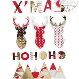 3D Stickers, H: 15-62 mm, W: 14-100 mm, reindeer, 15pcs, thickness 5 mm