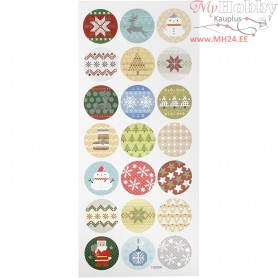Stickers, sheet 10x23 cm, approx. 21 pc, christmas embrodery, 1sheet
