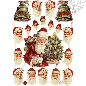 Vintage Die-Cuts, sheet 16,5x23,5 cm, santa and bells, 3sheets