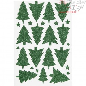 Glitter Stickers, sheet 12x18,5 cm, green, christmas tree, 1sheet