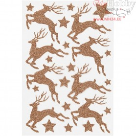 Glitter Stickers, sheet 12x18,5 cm, copper, deer, 1sheet