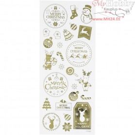 Stickers, sheet 10x24 cm, approx. 26 pc, gold, Christmas, 1sheet