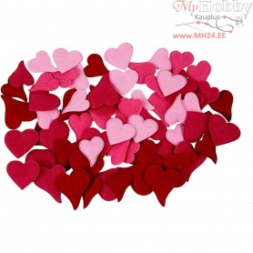 Hearts, size 30-40 mm, thickness 2 mm, 160mixed