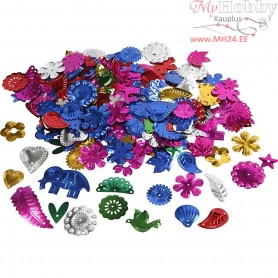 Sequins, size 15-45 mm, bold colours, carnival, 400g