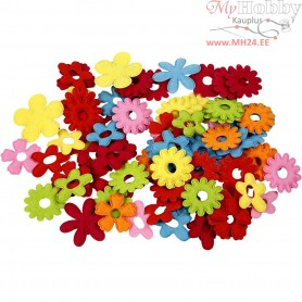 Felt Flowers, largest size 35x45 mm, thickness 1,2 mm, 135mixed